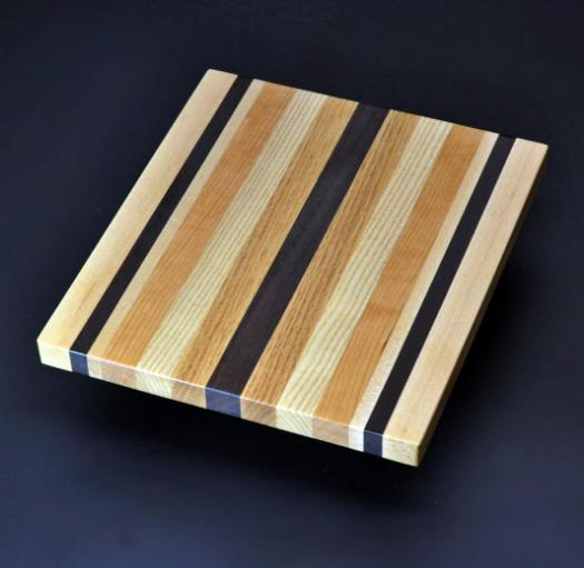 Mixed hardwood Cutting Board with Peruvian Walnut 8.5 x 10 x .75 image 1